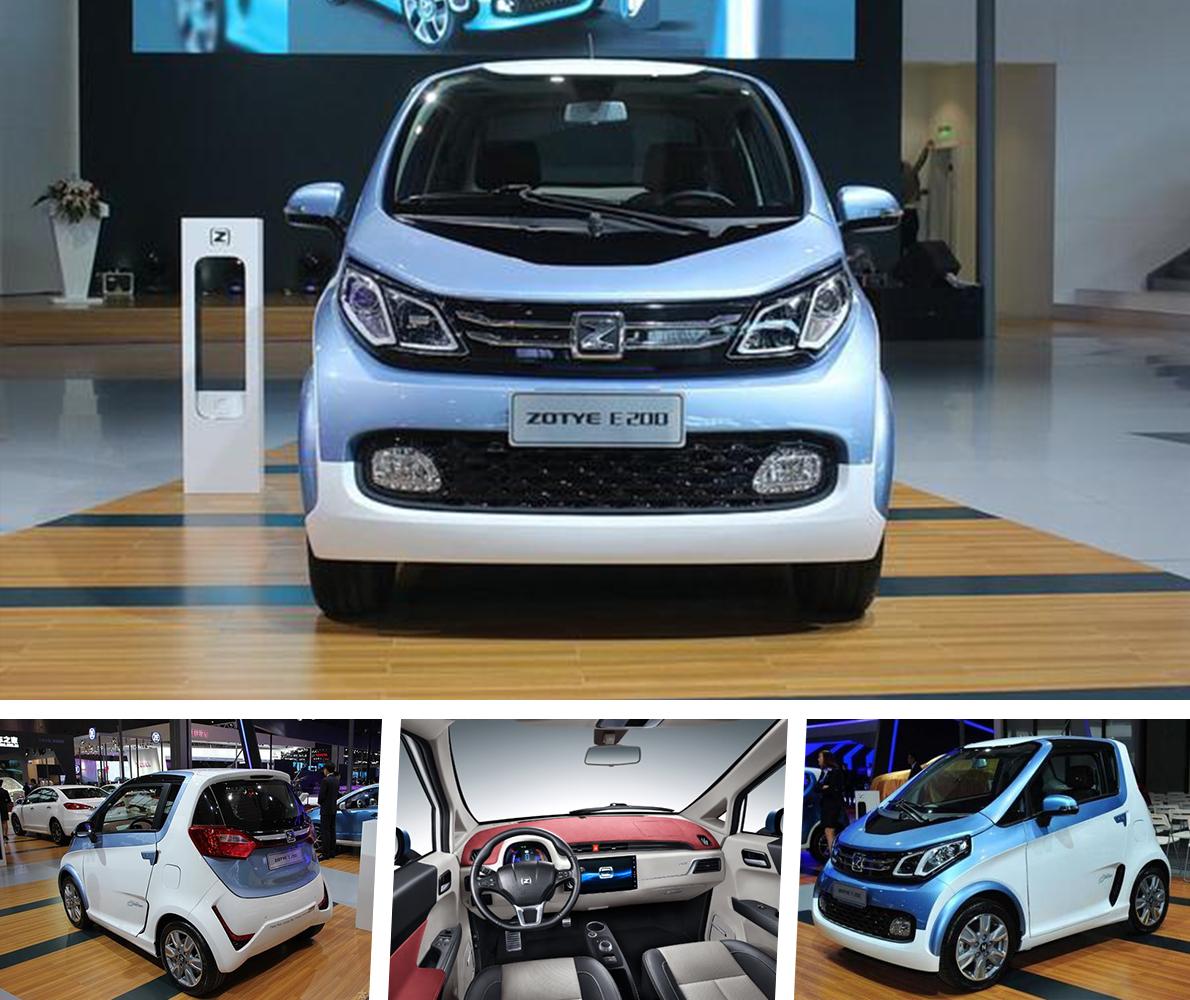 网车 众泰E200,纯电动汽车,蓝白色高清图片